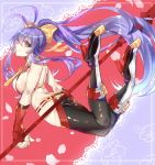 1girl antenna_hair ass backless_outfit black_pants blazblue blazblue_remix_heart boots bow breasts elbow_gloves fingerless_gloves full_body gloves hair_bow halter_top halterneck high_heel_boots high_heels high_ponytail holding holding_spear holding_weapon large_breasts long_hair lowleg lowleg_pants mai_natsume no_bra no_panties outseal pants pink_eyes polearm purple_hair red_gloves revealing_clothes sideboob smile solo spear tight tight_pants very_long_hair weapon yellow_bow yukinohito_(koutyanomitai)