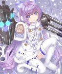 1girl azur_lane bangs blue_bow blue_eyes blush boots bow brown_sweater commentary_request dress eyebrows_visible_through_hair fur-trimmed_dress fur-trimmed_sleeves fur_trim glowing glowing_eyes hair_between_eyes long_hair long_sleeves looking_at_viewer one_knee parted_lips purple_hair revision sleeves_past_fingers sleeves_past_wrists snowing solo sweater tashkent_(azur_lane) thigh-highs thigh_boots tsukino_neru very_long_hair white_dress white_footwear white_legwear wide_sleeves