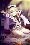 1girl absurdres azur_lane ball_and_chain_restraint blonde_hair chain cocktail_glass cuffs cup drinking_glass eyebrows_visible_through_hair grozny_(bad_bunny_behind_bars)_(azur_lane) hat highres long_hair long_sleeves looking_at_viewer one_eye_closed open_mouth pg_(pege544) prison_clothes shackles shirt solo striped striped_shirt violet_eyes white_headwear