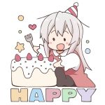 1girl :d bangs black_legwear blush_stickers cake chibi collared_dress commentary_request diagonal_stripes dress eyebrows_behind_hair food fork genderswap genderswap_(mtf) grey_hair hat heart holding holding_fork long_hair long_sleeves nekotoufu no_shoes onii-chan_wa_oshimai open_mouth oyama_mahiro pantyhose party_hat red_dress shirt sitting sleeveless sleeveless_dress smile soles solid_circle_eyes solo star striped very_long_hair white_background white_shirt