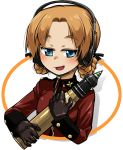 1girl bangs black_gloves black_ribbon blue_eyes braid commentary cropped_torso epaulettes eyebrows_visible_through_hair girls_und_panzer gloves hair_ribbon half-closed_eyes headphones holding insignia jacket long_sleeves looking_at_viewer military military_uniform open_mouth orange_hair orange_pekoe_(girls_und_panzer) parted_bangs r-ex red_jacket ribbon short_hair smirk solo st._gloriana's_military_uniform tank_shell tied_hair transparent_background twin_braids uniform upper_body