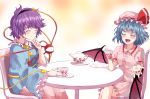2girls abstract_background arm_up bat_wings blue_skirt blush chair closed_eyes colored_eyelashes commentary_request crossed_legs cup fang frilled_sleeves frills gradient gradient_background hair_ornament hairband hat hat_ribbon heart heart_hair_ornament holding holding_cup komeiji_satori long_sleeves mob_cap multiple_girls open_mouth pink_headwear pink_shirt pink_skirt pointy_ears purple_hair remilia_scarlet ribbon saucer shirt short_hair sitting skirt skirt_set smile sunyup table teacup teapot third_eye touhou wide_sleeves wings wrist_cuffs