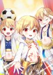 1boy amu_enya ball blonde_hair blush child child_gilgamesh fate/hollow_ataraxia fate/kaleid_liner_prisma_illya fate_(series) hair_between_eyes hood hoodie jewelry looking_at_viewer midriff navel necklace one_eye_closed open_mouth red_eyes soccer_ball solo telstar vest younger