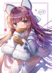 1girl absurdres animal_ears apple_caramel azur_lane blue_eyes blush boots coat cookie dress eyebrows_visible_through_hair fake_animal_ears food fur_trim hair_ornament hair_ribbon highres long_hair long_sleeves looking_at_viewer purple_hair ribbon sleeves_past_wrists solo sweater tashkent_(azur_lane) thigh-highs thigh_boots very_long_hair white_coat winter_clothes