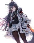 1girl absurdres animal_ear_fluff animal_ears arknights bangs black_hair black_legwear black_shirt blush commentary cowboy_shot dog_tags ei_(tndusdldu) eyebrows_visible_through_hair fur-trimmed_jacket fur_trim hair_between_eyes head_tilt highres holding holding_sword holding_weapon huge_filesize id_card jacket left-handed long_hair long_sleeves looking_at_viewer multicolored_hair pantyhose parted_lips red_eyes redhead shirt shorts simple_background solo standing sword texas_(arknights) thighs weapon white_background white_jacket white_shorts wide_sleeves wolf_ears