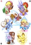 04sora40 3boys 4girls :o blonde_hair blush_stickers bob-omb bowser bracelet brown_footwear brown_hair chibi circlet crown dr._mario dr._mario_(game) dress electricity facial_hair floating gen_2_pokemon gloves greaves hammer head_mirror highres horns ice_climber jewelry knife lit_fuse mallet mario_(series) multiple_boys multiple_girls mustache nana_(ice_climber) necktie orange_hair parasol pichu pink_dress pink_umbrella pointy_ears pokemon pokemon_(creature) pokemon_(game) popo_(ice_climber) princess_peach princess_zelda puffy_short_sleeves puffy_sleeves red_neckwear sheik short_sleeves slashing spiked_bracelet spikes spinning stethoscope super_smash_bros. the_legend_of_zelda the_legend_of_zelda:_ocarina_of_time turnip umbrella white_gloves white_headwear winding_key