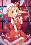 1girl amemiya_ruki apple bangs between_legs blonde_hair blue_ribbon blush bow collared_shirt commentary_request crystal eyebrows_visible_through_hair fang flandre_scarlet food frilled_skirt frills fruit full_moon hair_between_eyes hair_bow hand_between_legs hand_up hat highres holding holding_food indoors long_hair looking_at_viewer mob_cap moon nail_polish open_mouth pointy_ears puffy_short_sleeves puffy_sleeves purple_nails red_apple red_bow red_eyes red_skirt red_vest ribbon ringlets shirt short_sleeves side_ponytail sidelocks skirt solo touhou very_long_hair vest white_bow white_headwear white_shirt window wings wrist_cuffs