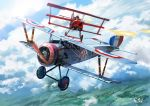 aerial_battle aircraft airplane battle biplane clouds dogfight firing flying graphite_(medium) gyan_(akenosuisei) military military_vehicle original pilot scenery sky traditional_media weapon