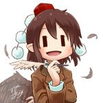1girl avatar_icon bird_wings brown_hair chamaji commentary eyebrows_visible_through_hair feathered_wings feathers hair_between_eyes hat holding holding_pen jacket looking_at_viewer lowres open_mouth pen pointy_ears pom_pom_(clothes) quill shameimaru_aya short_hair signature smile solo suit_jacket tengu tokin_hat touhou upper_body white_background wings ||_||