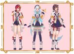 3girls :d absurdres alternate_costume ange_katrina animal_ears aqua_hair aqua_neckwear artist_name beret bird black_gloves black_headwear black_legwear blue_eyes blue_hair blue_shorts blue_skirt blue_vest blush boots border breasts brown_hair commentary dog_ears dog_tail eyebrows_visible_through_hair frilled_skirt frills full_body gloves hair_ornament hand_in_hair hat heterochromia highres inui_toko jacket lize_helesta long_hair looking_at_viewer miniskirt multicolored_hair multiple_girls neck_ribbon nijisanji open_clothes open_jacket open_mouth pink_background pleated_skirt red_eyes red_neckwear redhead ribbon sebastian_piyodore short_hair short_shorts short_sleeves shorts silver_hair simple_background skirt small_breasts smile standing streaked_hair tail thigh-highs thigh_strap thighs twintails twitter_username two-tone_hair usasuzu vest violet_eyes virtual_youtuber white_footwear white_jacket wrist_cuffs yellow_eyes