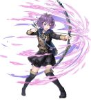 1girl arrow aura bernadetta_von_varley boots bow_(weapon) crying epaulettes fire_emblem fire_emblem:_three_houses fire_emblem_heroes full_body highres official_art open_mouth purple_hair short_hair solo thigh-highs transparent_background violet_eyes weapon