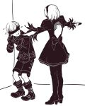 1boy 1girl backless_outfit blindfold boots covered_eyes english_commentary flying_sweatdrops greyscale hairband high_heel_boots high_heels highres jacket juliet_sleeves long_sleeves meme monochrome nier_(series) nier_automata puffy_sleeves sakuramochixninja scared short_hair shorts standing t-pose thigh-highs thigh_boots yorha_no._2_type_b yorha_no._9_type_s