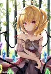 1girl ahoge bare_shoulders blonde_hair brown_dress collarbone commentary_request crystal doll_hug dress flandre_scarlet glint highres hyurasan iron_bars jewelry leaf looking_at_viewer medium_hair necklace off_shoulder one_side_up parted_lips plant red_eyes solo spaghetti_strap strap_slip stuffed_animal stuffed_toy teddy_bear touhou upper_body vines wings