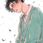 1boy arms_at_sides billies_(christina_oh) black-framed_eyewear black_eyes black_hair blue_sweater buttons collared_shirt crying crying_with_eyes_open dress_shirt expressionless feathers flying_teardrops glasses kiriyama_rei leaning leaning_forward looking_afar male_focus messy_hair parted_lips partially_unbuttoned sangatsu_no_lion shirt simple_background sweater tears upper_body white_background white_shirt