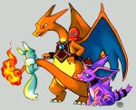 2014 alternate_color blue_eyes charizard charmander chibi-castform claws creature dragon eevee eye_contact fangs fiery_tail fire flame full_body gen_1_pokemon green_eyes grey_background horns looking_at_another nidorino no_humans pokemon pokemon_(creature) pokemon_on_tail shiny_pokemon signature simple_background sitting standing tail yellow_eyes