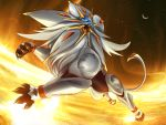 claws commentary creature crescent_moon english_commentary gen_7_pokemon highres legendary_pokemon light lion looking_to_the_side moon night night_sky no_humans pokemon pokemon_(creature) sky solgaleo solo tapwing