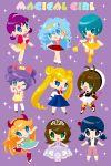6+girls :> :d ;d aqua_eyes aqua_hair bishoujo_senshi_sailor_moon blonde_hair blue_eyes blue_hair bow brown_hair capri_pants cardcaptor_sakura chibi crossover double_bun dress earrings english_text fuuin_no_tsue green_eyes hair_bow hairband hat highres himitsu_no_akko-chan inline_skates jewelry juuban_middle_school_uniform kagami_atsuko kaorin_minogue kinomoto_sakura low_twintails magical_girl mahou_no_tenshi_creamy_mami mahou_no_yousei_persia manaka_lala marinette_dupain-cheng miraculous_ladybug morisawa_yuu multiple_crossover multiple_girls one_eye_closed open_mouth pants persia_(mahou_no_yousei_persia) pleated_skirt pretty_(series) pripara purple_background purple_hair roller_skates school_uniform serafuku skates skirt skirt_hold smile sofia_(disney) sofia_the_first sparkle standing standing_on_one_leg star star-shaped_pupils star_butterfly star_vs_the_forces_of_evil symbol-shaped_pupils tiara tikki_(miraculous_ladybug) tomoeda_elementary_school_uniform trait_connection tsukino_usagi twintails wand
