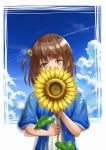04sora40 1girl absurdres blue_serafuku brown_hair clouds day flower green_eyes hair_flower hair_ornament highres huge_filesize looking_at_viewer medium_hair original school_uniform serafuku shirt short_sleeves solo standing summer sunflower upper_body white_shirt