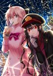 2girls absurdres ahoge bangs black_bow black_hair black_headwear black_jacket bow brown_hair bubble_tea closed_mouth commentary cup disposable_cup dress drinking_straw english_commentary eyebrows_visible_through_hair fate/grand_order fate_(series) fur-trimmed_sleeves fur_collar fur_trim glint gloves hair_between_eyes hair_bow hat highres holding holding_cup jacket koha-ace leaning_forward long_hair long_sleeves looking_at_viewer mask mask_pull mouth_mask multiple_girls nail_polish oda_nobunaga_(fate) oda_nobunaga_(fate)_(all) okita_souji_(fate) okita_souji_(fate)_(all) open_clothes open_jacket peaked_cap pink_dress pink_nails pulled_by_self purple_bow red_eyes red_shirt shirt surgical_mask ten-chan_(eternal_s) v-shaped_eyebrows very_long_hair white_gloves