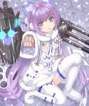 1girl azur_lane bangs blue_bow blue_eyes blush boots bow brown_sweater commentary_request dress eyebrows_visible_through_hair fur-trimmed_dress fur-trimmed_sleeves fur_trim glowing glowing_eyes hair_between_eyes long_hair long_sleeves looking_at_viewer one_knee parted_lips purple_hair sleeves_past_fingers sleeves_past_wrists snowing solo sweater tashkent_(azur_lane) thigh-highs thigh_boots tsukino_neru very_long_hair white_dress white_footwear white_legwear wide_sleeves