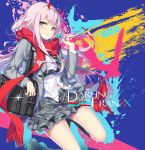 1girl bag bag_charm blush candy character_name charm_(object) copyright_name darling_in_the_franxx eyebrows_visible_through_hair eyeshadow food glint green_eyes grey_jacket grey_legwear grey_skirt holding hong_(white_spider) horns jacket lollipop long_hair long_sleeves looking_at_viewer makeup open_clothes open_jacket parted_lips pink_hair pink_nails plaid plaid_skirt red_scarf scarf school_bag school_uniform shirt shoes shoulder_bag skirt socks solo white_shirt zero_two_(darling_in_the_franxx)
