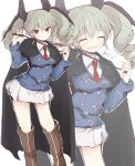 1girl anchovy_(girls_und_panzer) bangs black_cape black_footwear black_ribbon blue_jacket boots cape closed_eyes commentary dress_shirt drill_hair eyebrows_visible_through_hair fang flying_sweatdrops getsumen_suibaku_ver._a(c) girls_und_panzer green_hair hair_ribbon highres holding jacket knee_boots light_blush long_hair long_sleeves looking_at_viewer maginot_military_uniform miniskirt necktie open_mouth outline pleated_skirt red_eyes red_neckwear ribbon riding_crop shirt simple_background skin_fang skirt smile solo standing twin_drills twintails twitter_username white_background white_outline white_shirt white_skirt wing_collar zoom_layer