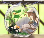 1girl :o air_bubble animal animal_ears bare_shoulders beret black_footwear blue_bow blurry blurry_background bow brown_eyes brown_hair bubble commentary depth_of_field english_commentary fish fishbowl goldfish grey_skirt hair_bow hat high_heels highres idemitsu long_hair looking_at_viewer off-shoulder_shirt off_shoulder original parted_lips pleated_skirt rabbit_ears shirt shoes sidelocks skirt solo submerged very_long_hair water white_headwear white_shirt
