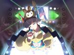 6+girls audience bangs bare_legs black_hair blue_eyes blue_footwear blue_nails blue_shirt blue_shorts bolt_badge breasts cameo catwalk character_request coat collarbone commentary_request crowd emolga eyebrows_behind_hair finger_to_mouth from_above full_body fur_coat gen_5_pokemon guard_rail gym_leader head_tilt headphones highres indoors kamitsure_(pokemon) laser long_hair long_sleeves looking_at_viewer midriff mismatched_footwear mismatched_nail_polish multiple_girls o3o off-shoulder_coat parted_lips platform_footwear poke_ball_symbol pokemon pokemon_(creature) pokemon_(game) pokemon_bw2 pokemon_on_head red_footwear red_nails screen shirt shorts sidelocks sleeveless sleeveless_shirt small_breasts snap-fit_buckle solo_focus stage stage_lights standing twintails two-tone_shirt two-tone_shorts very_long_hair yachi_(fujiyasu0616) yellow_coat yellow_shirt yellow_shorts
