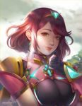 1girl artsunisiju bangs breasts clouds cloudy_sky day earrings fingerless_gloves gem gloves headpiece highres homura_(xenoblade_2) jewelry large_breasts lips looking_at_viewer outdoors realistic red_eyes redhead short_hair short_sleeves sky smile solo swept_bangs tiara xenoblade_(series) xenoblade_2