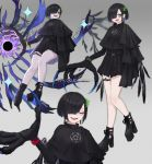 1girl asymmetrical_clothes bird black_hair black_legwear blue_eyes blush claws commentary_request earrings fangs grey_background hair_over_one_eye highres jewelry kasagarasu looking_at_viewer mole mole_under_eye multiple_views open_mouth original platform_footwear short_hair solo thigh_strap watch watch wings