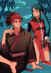 1boy 1girl arm_support artist_name bamboo bangs barefoot breasts brown_kimono changpao character_request chinese_clothes collar collarbone cosplay costume_switch fate/grand_order fate_(series) green_eyes green_hair high_ponytail japanese_clothes kimono kneeling li_shuwen_(fate) long_hair long_sleeves looking_at_another medium_breasts meiji_ken one_eye_closed parted_lips redhead sitting smile spiky_hair straight_hair