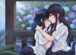 2girls absurdres bag bangs black_hair black_rabbit black_skirt blue_flower blurry blurry_foreground blush braid closed_eyes collared_shirt commentary_request crying depth_of_field eyebrows_visible_through_hair flower hair_between_eyes hair_ornament hairclip highres hug long_hair mole mole_under_eye multiple_girls original parted_lips pleated_skirt profile purple_flower rain red_eyes ripples school_bag school_uniform see-through shirt short_sleeves skirt tears water wet wet_clothes wet_shirt white_shirt x_hair_ornament yuri