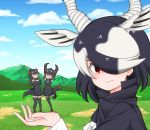 3girls antelope_ears antelope_horns apron arms_up australian_devil_(kemono_friends) bare_shoulders black_apron black_cape black_hair black_legwear black_skirt blackbuck_(kemono_friends) blouse brown_footwear brown_gloves brown_hair cape commentary_request detached_sleeves extra_ears eyebrows_visible_through_hair eyepatch forced_perspective gloves hair_over_one_eye kemono_friends kemono_friends_3 loafers long_hair long_sleeves looking_at_viewer medical_eyepatch multicolored_hair multiple_girls open_mouth pleated_skirt pon1006mrn red_eyes shoes short_hair skirt sleeveless smile standing standing_on_one_leg tasmanian_devil_(kemono_friends) tasmanian_devil_ears tasmanian_devil_tail thigh-highs white_blouse white_hair zettai_ryouiki