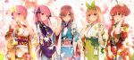 5girls ;) absurdres ahoge alternate_costume alternate_eye_color bangs black_ribbon blue_kimono blunt_bangs blurry blush breasts brown_hair butterfly_hair_ornament cherry_blossom_print cherry_blossoms closed_mouth collarbone commentary_request earrings eyebrows_visible_through_hair floral_print flower furisode go-toubun_no_hanayome green_hairband green_kimono green_sash grin hair_between_eyes hair_flower hair_ornament hair_ribbon hair_tie hairband hand_in_hair hand_on_ear hand_up hands_up headphones headphones_around_neck highres holding_heart holding_pouch japanese_clothes jewelry kimono kinchaku large_breasts lavender_hair long_hair long_sleeves looking_at_viewer multiple_girls nakano_ichika nakano_itsuki nakano_miku nakano_nino nakano_yotsuba obi obijime one_eye_closed open_hand orange_hair orange_kimono parted_lips pink_hair pouch print_kimono profile purple_kimono quintuplets reaching_out red_kimono redhead ribbon sash short_hair side-by-side sidelocks smile standing star star_hair_ornament stud_earrings tied_hair translation_request tree two_side_up upper_body violet_eyes white_kimono wide_sleeves yijian_ma