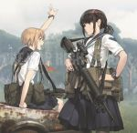 2girls arms_up assault_rifle bangs black_legwear black_ribbon black_skirt blonde_hair blurry blurry_background brown_eyes brown_hair car closed_mouth clouds cloudy_sky commentary day depth_of_field emblem english_text eyebrows_visible_through_hair green_eyes grey_sky ground_vehicle gun hair_ribbon hand_on_hip harness holding holding_gun holding_weapon long_hair miniskirt motor_vehicle multiple_girls neckerchief open_mouth original outdoors pantyhose pleated_skirt ponytail pouch ribbon rifle school_uniform scope serafuku short_hair short_sleeves sidelocks sitting skirt sky smile standing tactical_clothes tantu_(tc1995) tree trigger_discipline watch watch weapon white_neckwear