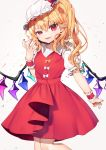1girl arm_up blonde_hair commentary_request cropped_legs eyebrows_visible_through_hair fangs fingernails flandre_scarlet folded_leg gunjou_row hair_between_eyes hansoku_tantei_satori hat hat_ribbon head_tilt highres looking_at_viewer mob_cap nail_polish one_side_up open_mouth parted_lips pointy_ears puffy_short_sleeves puffy_sleeves raised_eyebrow red_eyes red_nails red_skirt red_vest ribbon shirt short_sleeves simple_background skirt slit_pupils solo splatter_background touhou uneven_eyes vest white_background white_headwear white_shirt wings wrist_cuffs