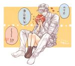 !! 1boy 1girl ae-3803 ahoge alternate_costume baseball_cap between_legs blush bob_cut brown_legwear closed_eyes commentary couple covering_face embarrassed grin hat hataraku_saibou heart hug hug_from_behind jacket knees_up misuki_op1155 outside_border pale_skin red_blood_cell_(hataraku_saibou) redhead short_hair sitting smile socks spoken_blush translated u-1146 white_blood_cell_(hataraku_saibou) white_headwear white_jacket yellow_background