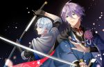 2boys black_gloves blue_eyes cape flower gloves japanese_clothes kasen_kanesada katana male_focus multiple_boys petals purple_hair rei_(usabiba) sheath sleeves_rolled_up smile sword touken_ranbu unsheathing weapon white_hair yamanbagiri_chougi
