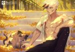 1boy abs bare_shoulders black_hair blood bloody_clothes cat closed_eyes closed_mouth earrings fingernails injury jewelry licking male_focus multicolored multicolored_hair muscle navel nipples open_eyes original outdoors scratches signature sitting snakeping tree white_hair yellow_eyes
