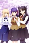 3girls :d absurdres ahoge arm_up artoria_pendragon_(all) black_hair black_legwear black_skirt blonde_hair blue_eyes blue_neckwear blue_skirt blush bow brown_vest cherry_blossoms cowboy_shot fate/stay_night fate_(series) green_eyes hair_bow hama_sakiyo hand_on_another's_shoulder hand_on_shoulder heaven's_feel highres homurahara_academy_uniform long_hair long_sleeves looking_at_another looking_at_viewer matou_sakura medium_skirt multiple_girls neck_ribbon official_art one_eye_closed open_hand open_mouth pantyhose petals pleated_skirt purple_hair red_neckwear ribbon saber scan school_uniform shirt short_hair skirt smile standing tears toosaka_rin two_side_up vest violet_eyes waving white_shirt wiping_tears