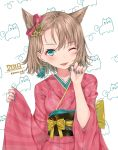 1girl 2018 :p back_bow bangs black_sash blush bow brown_hair claw_pose eyebrows_visible_through_hair green_eyes hair_ornament hair_ribbon hand_up hands_up japanese_clothes kimono komazuki_(komaworks240) long_sleeves looking_at_viewer obi one_eye_closed original pink_kimono red_ribbon ribbon sash short_hair signature smile solo striped striped_kimono tongue tongue_out upper_body vertical-striped_kimono vertical_stripes wide_sleeves yellow_bow