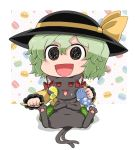 1girl :3 :d @_@ black_headwear bow cat_teaser cheek_squash chibi commentary_request eyebrows_visible_through_hair food food_background green_hair green_skirt hat hat_ribbon holding holding_stuffed_animal kaenbyou_rin kaenbyou_rin_(cat) komeiji_koishi looking_at_viewer lying macaron multiple_tails noai_nioshi on_back open_mouth polka_dot polka_dot_background red_bow red_eyes ribbon shirt short_hair sitting skirt smile stuffed_animal stuffed_fish stuffed_toy sweatdrop tail touhou wariza yellow_shirt
