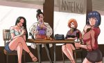 4girls black_hair bleach boa_hancock breast_hold breasts chi-chi_(dragon_ball) crossed_legs cup disposable_cup dragon_ball drink drinking earrings hair_bun high_heels hyuuga_hinata inoue_orihime jacket jewelry legs long_hair mature multiple_girls naruto_(series) one_piece orange_hair short_hair sitting skirt sweater thigh-highs tina_fate