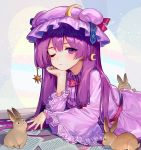 1girl ainy77 animal closed_mouth commentary_request crescent dress eyebrows_visible_through_hair hat long_hair long_sleeves looking_at_viewer lying nail_polish on_stomach one_eye_closed patchouli_knowledge purple_dress purple_hair purple_headwear purple_nails rabbit revision star striped touhou vertical_stripes violet_eyes