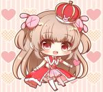 >_< 1girl :d bangs blush brown_hair bunny_hair_ornament capelet chibi commentary_request crown eyebrows_visible_through_hair full_body fur-trimmed_capelet fur-trimmed_headwear fur_trim gloves hair_ornament heart heart_background long_hair looking_at_viewer mini_crown natori_sana open_mouth outstretched_arm pink_shirt pink_skirt red_capelet red_eyes red_footwear round_teeth sana_channel shirt shoes skirt smile solo striped striped_background teeth thigh-highs tilted_headwear two_side_up upper_teeth vertical-striped_background vertical_stripes very_long_hair virtual_youtuber white_gloves white_legwear yukiyuki_441