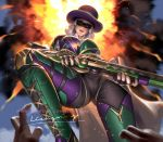 1girl 1other ashe_(overwatch) blurry_foreground breasts domino_mask earrings english_commentary explosion fingerless_gloves from_below gloves gun hat holding holding_gun holding_weapon jewelry liang_xing lips lipstick looking_at_viewer looking_down makeup mask medium_breasts mole_above_mouth nail_polish overwatch parted_lips pov red_eyes red_lipstick short_hair signature solo_focus stepped_on watermark weapon web_address white_hair