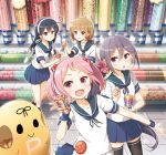 4girls :d ahoge akebono_(kantai_collection) animal_on_shoulder badge bandaid bandaid_on_face bell black_hair blue_sailor_collar blue_skirt brown_eyes brown_hair candy candy_store commentary_request crab cup flower food frilled_skirt frills glass hair_bell hair_bobbles hair_flower hair_ornament hairband headband jingle_bell kantai_collection long_hair multiple_girls oboro_(kantai_collection) open_mouth outstretched_arm pink_eyes pink_hair pleated_skirt puffy_short_sleeves puffy_sleeves purple_hair rabbit remodel_(kantai_collection) sailor_collar sazanami_(kantai_collection) school_uniform serafuku shop short_hair short_sleeves side_ponytail skirt smile thigh-highs tile_floor tiles twintails ushio_(kantai_collection) very_long_hair violet_eyes white_hairband wristband yume_no_owari zettai_ryouiki