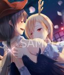2girls :d bandana bangs bare_shoulders black_hair black_wings blonde_hair blue_shirt blush brown_headwear commentary_request cowboy_hat dragon_horns dutch_angle eyebrows_visible_through_hair feathered_wings glint grin hair_between_eyes hat horns kicchou_yachie knife kurokoma_saki long_hair looking_at_another low_ponytail multiple_girls nnyara off-shoulder_shirt off_shoulder open_mouth petals profile puffy_short_sleeves puffy_sleeves red_eyes sample shirt short_hair short_sleeves smile touhou watermark wings
