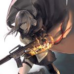 1girl absurdres assault_rifle bangs black_footwear braid braided_ponytail cape closed_mouth eyepatch fire girls_frontline gloves gun highres holding holding_weapon kisetsu long_hair m16a1_(girls_frontline)_(boss) multicolored_hair rifle running sangvis_ferri scar skirt solo streaked_hair weapon white_hair yellow_eyes