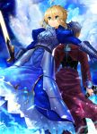 1boy 1girl ahoge archer armor armored_dress artoria_pendragon_(all) back-to-back bangs blonde_hair blue_dress blue_sky braid breastplate clouds cloudy_sky commentary_request dark_skin dark_skinned_male dress dutch_angle excalibur eyebrows_visible_through_hair facing_away fate/stay_night fate_(series) gauntlets glowing glowing_sword glowing_weapon green_eyes grey_hair hair_between_eyes highres holding holding_sword holding_weapon jacket juliet_sleeves kanshou_&_bakuya long_sleeves looking_away o_(rakkasei) outdoors outstretched_arm puffy_sleeves red_jacket saber sidelocks sky sparkle sword weapon